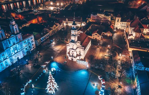 Обои Lietuva, Kaunas, naktis
