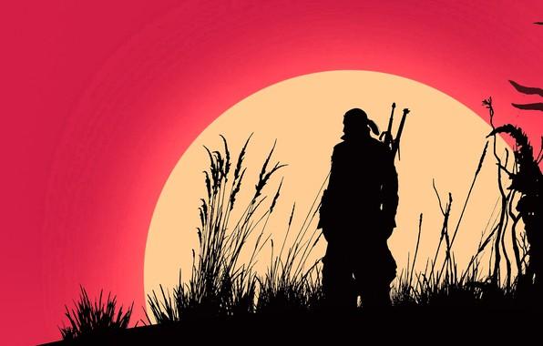 Картинка fantasy, game, The Witcher, minimalism, sun, man, weapons, digital art, artwork, warrior, swords, fantasy art, …