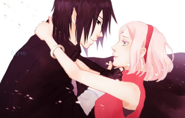 Картинка любовь, романтика, пара, двое, Наруто, Naruto, Sasuke Uchiha, Sakura Haruno, Саске Учиха, Сакура Харуно