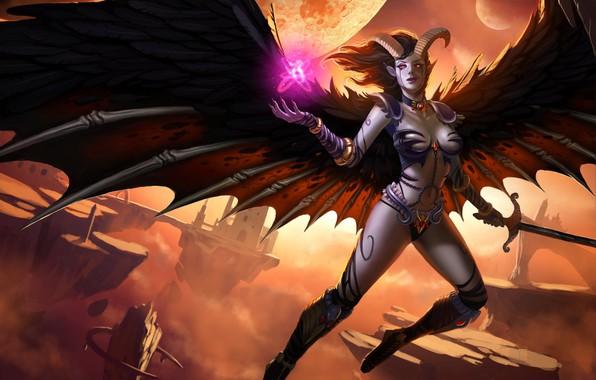 Картинка девушка, крылья, демон