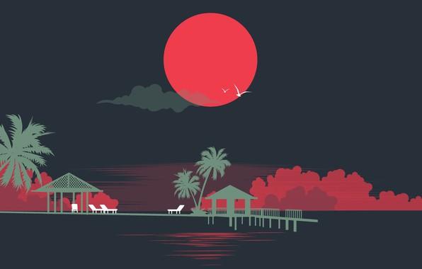 Картинка Солнце, Море, Музыка, Стиль, Пальмы, Силуэты, 80s, Style, Neon, Illustration, 80's, Synth, Retrowave, Synthwave, New …