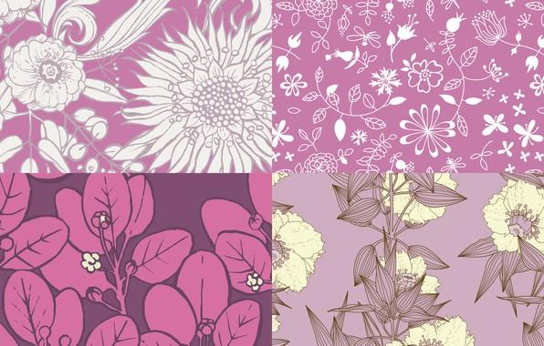 Картинка цветы, фон, узор, текстура, patterns, purple
