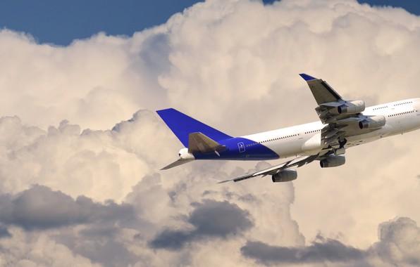 Картинка Небо, Облака, Самолет, Лайнер, Полет, Авиалайнер, Boeing 747, Боинг 747, Пассажирский самолёт