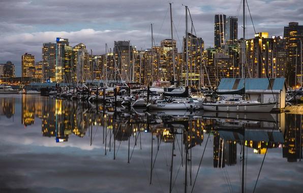 Картинка город, порт, Vancouver