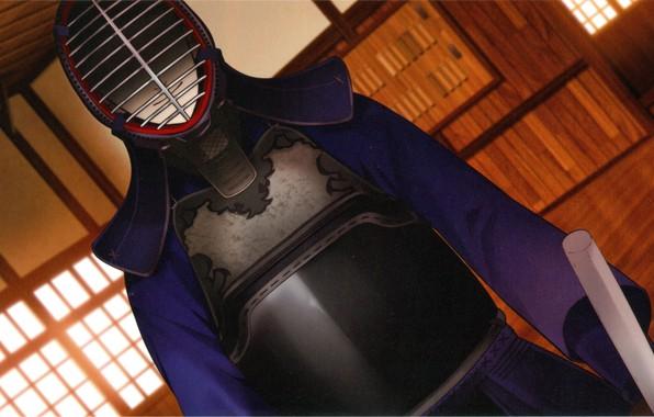 Картинка доспехи, шлем, ухмылка, visual novel, kendo, бамбуковый меч, додзё, Suuran Digit, спортивный зал, by Melo