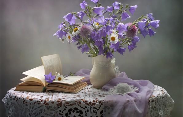 Картинка цветы, ромашки, шарф, книга, шляпка, кувшин, натюрморт, колокольчики, столик, салфетка, Ковалёва Светлана
