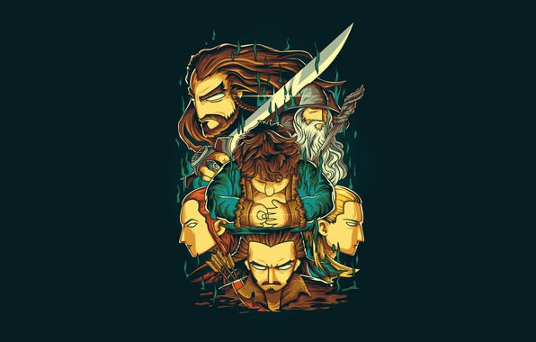Картинка Fantasy, Art, Dwarf, Vector, Background, Gandalf, Legolas, The Hobbit, Illustration, Hobbit, Elf, Minimalism, Sword, Tauriel, …