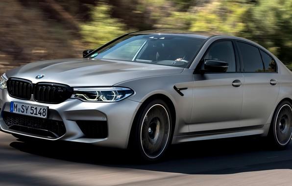 Картинка дорога, серый, движение, скорость, тень, BMW, седан, 4x4, 2018, четырёхдверный, M5, V8, F90, M5 Competition