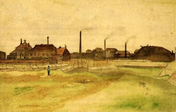 Картинка дома, собака, заводы, парень, Vincent van Gogh, Coalmine, in the Borinage