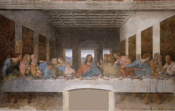 Картинка картина, фреска, живопись, искусство, средневековье, Тайная вечеря, апостолы, Христос, Леонардо да Винчи, Тайная Вечеря
