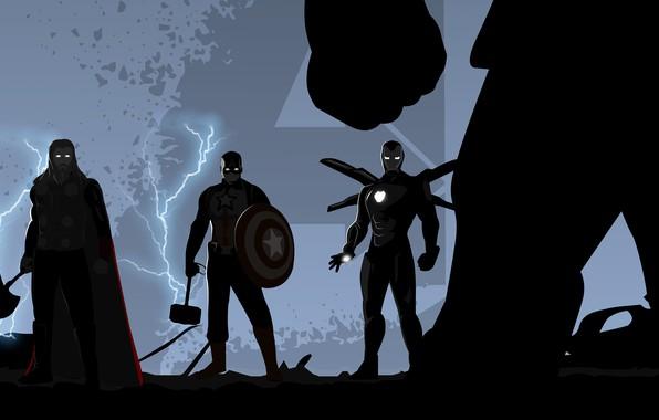 Картинка Iron Man, Captain America, Thor, Avengers, Trinity, Thanos, Avengers: Endgame