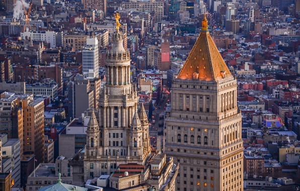 Картинка здания, дома, Нью-Йорк, панорама, архитектура, Манхэттен, Manhattan, New York City, Manhattan Municipal Building, Thurgood Marshall …