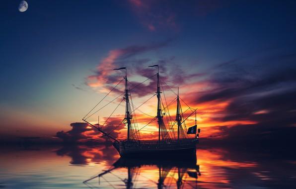 Картинка небо, облака, закат, ночь, рендеринг, корабль, планета, парусник, вечер, арт, сумерки, судно, фотоарт, шхуна