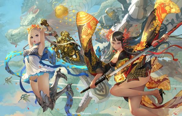 Картинка sword, fantasy, weapon, girls, anime, blue eyes, katana, dragon, mech, digital art, artwork, fantasy art, …
