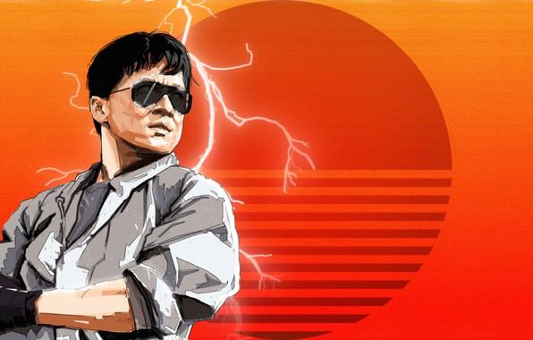 Картинка Art, 80s, Retro, Jackie Chan, Synth, Retrowave, Synthwave, madeinkipish, Sergey Orlov, by Sergey Orlov, Fight ...
