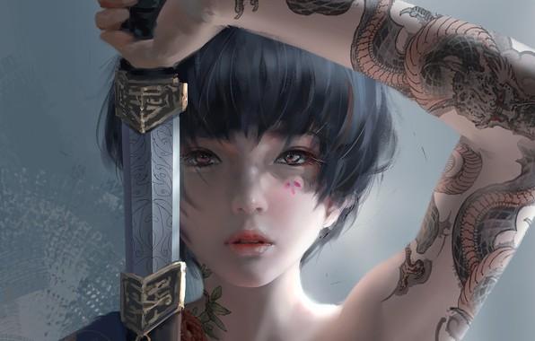 Картинка girl, sword, fantasy, katana, tattoo, asian, digital art, artwork, Samurai, warrior, fantasy art, fantasy girl