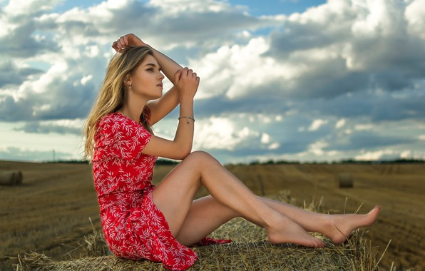 Картинка девушка, секси, модель, солома, платьице, Ananda, Dmitry Medved
