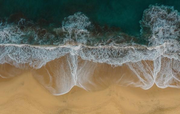 Картинка песок, море, волны, пляж, лето, природа, побережье, вид сверху