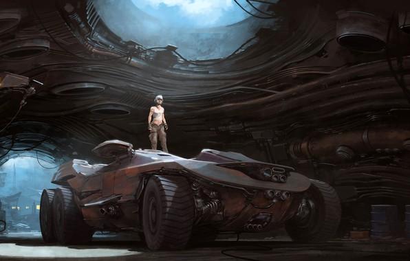 Картинка Авто, Человек, Машина, Ангар, Арт, Art, Auto, Техника, Фантастика, Machine, Транспорт, Man, Hangar, Science Fiction, …