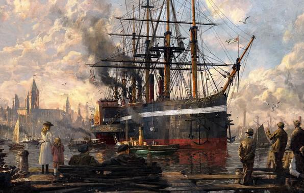 Картинка люди, корабль, картина, порт
