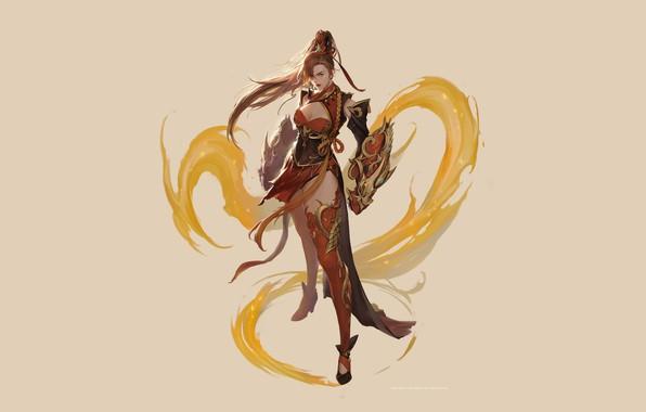 Картинка Girl, Fantasy, Beautiful, Art, Style, Magic, Illustration, Elf, Minimalism, Characters, Figure, bom Yeon, Pyran illust