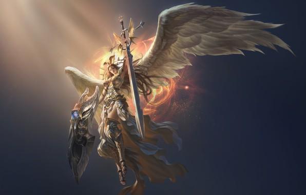 Картинка девушка, ангел, victoria, копьё, league of angels