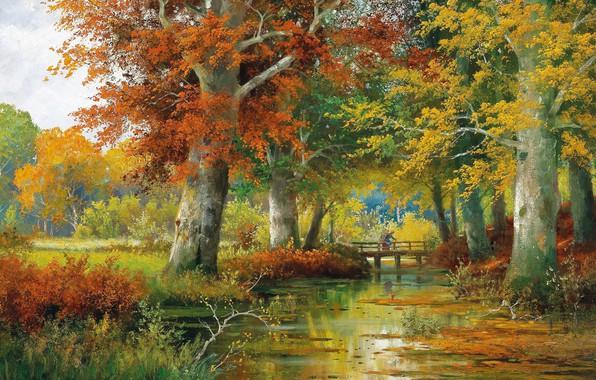 Картинка Alois Arnegger, Осенний пейзаж, Austrian painter, Autumn Landscape, австрийский живописец, oil on canvas, Алоис Арнеггер