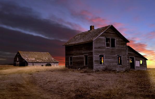 Картинка поле, ночь, дом