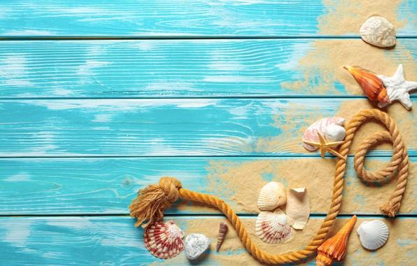 Картинка песок, пляж, ракушки, beach, wood, sand, marine, still life, starfish, seashells