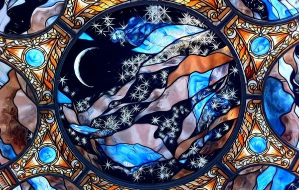 Картинка стекло, яркие краски, линии, абстракция, изгибы, сфера, орнамент, картинка, витражный рисунок