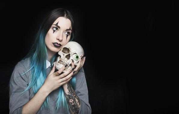 Картинка девушка, глаз, череп, тату, Halloween, татуировки