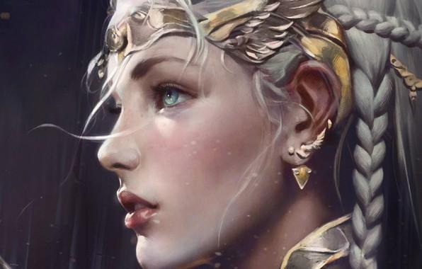 Картинка серьги, косички, эльфийка, голубые глаза, диадема, princess, в профиль, остроухая, elf girl, Dark Avenger