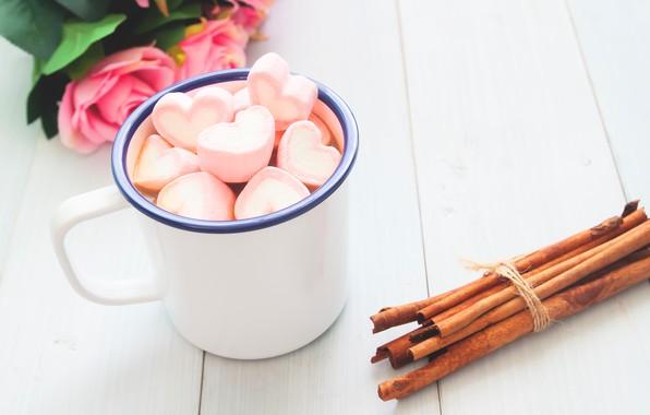 Картинка розы, букет, чашка, сердечки, wood, pink, cup, romantic, hearts, valentine's day, какао, roses, hot chocolate, ...