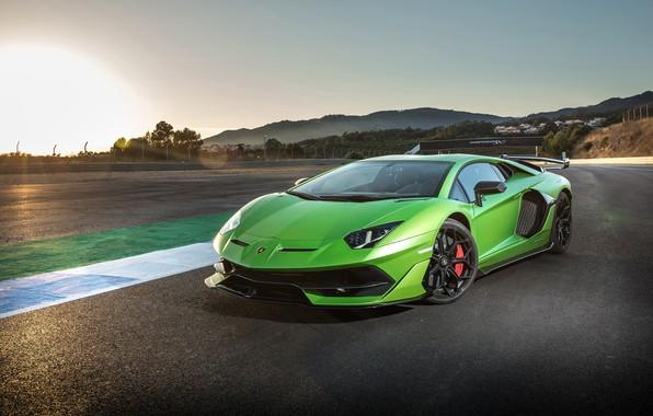 Картинка закат, Lamborghini, суперкар, 2018, Aventador, SVJ, Aventador SVJ