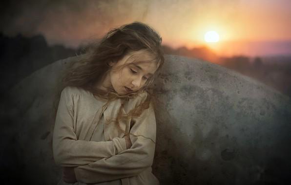 Картинка закат, портрет, девочка