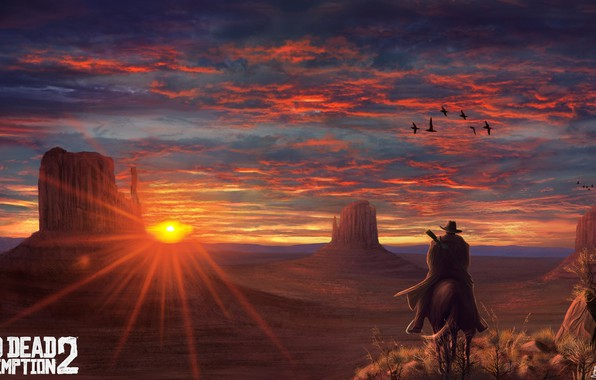 Картинка Закат, Игра, Арт, Rockstar, Concept Art, Cowboy, Western, Game Art, Red Dead Redemption 2, Environments, …