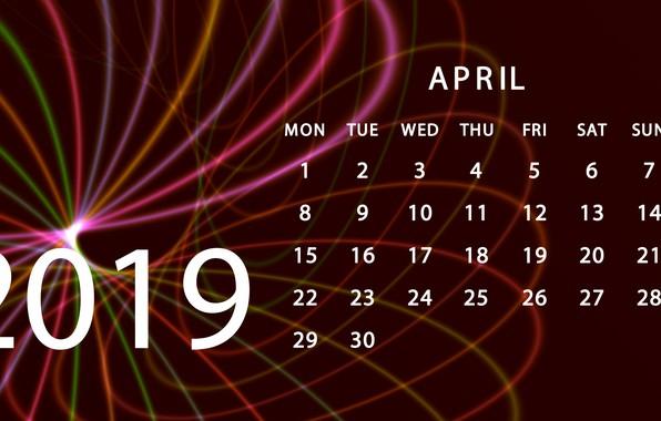 Картинка календарь, апрель, 2019