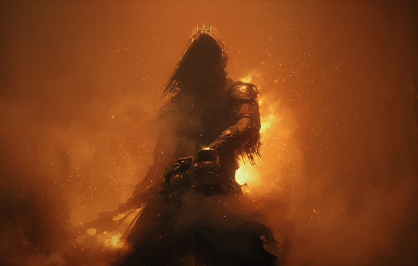 Картинка fire, warhammer, art, dark fantasy, cape, Ash Thorp
