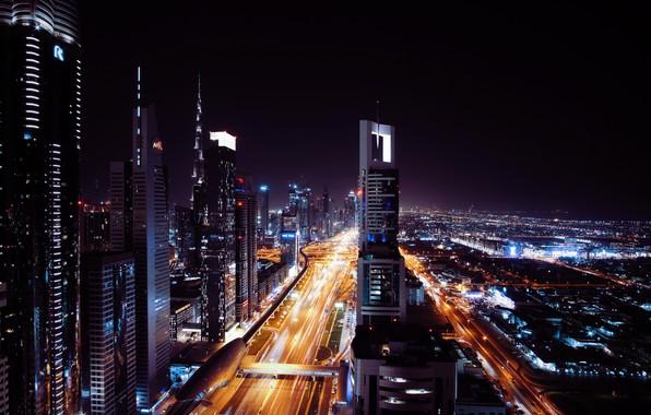 Картинка ночь, city, Дубаи, ночной город, Dubai, night, night city