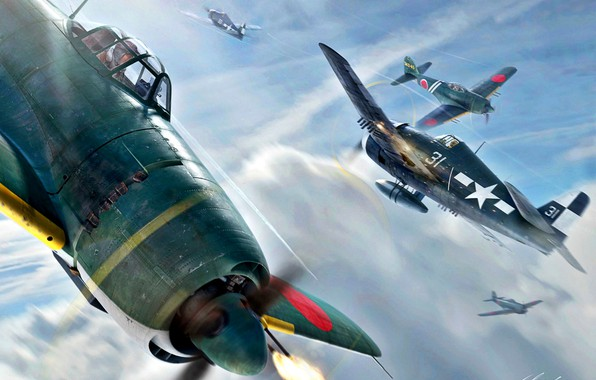 Картинка Kawanishi, N1K2-J, US Navy, WWII, F6F-5, NJAF, Shiden-Kai