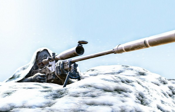 Картинка снег, арт, снайпер, винтовка, зимой