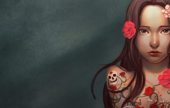 Картинка Girl, skull, rose, long hair, minimalism, brown eyes, flowers, tattoo, lips, brunette, digital art, artwork, …