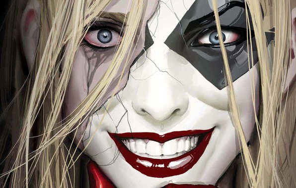 Картинка girl, fantasy, blue eyes, comics, face, blonde, artwork, mask, superhero, fantasy art, DC Comics, grin, …