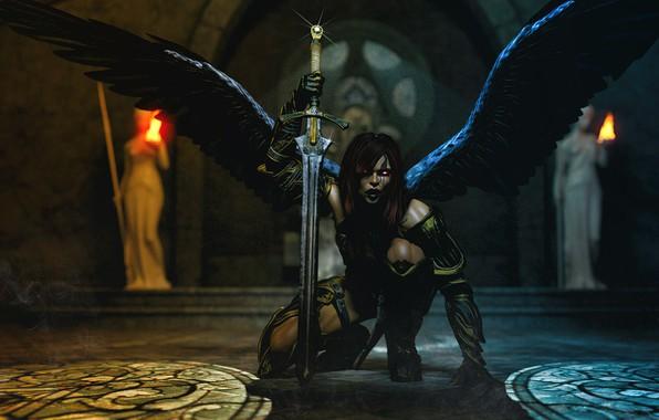 Картинка девушка, крылья, демон, Храм, тьма.