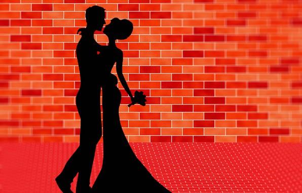 Картинка танец, букет, влюбленные, силуэты, кирпичная стена, векторная графика