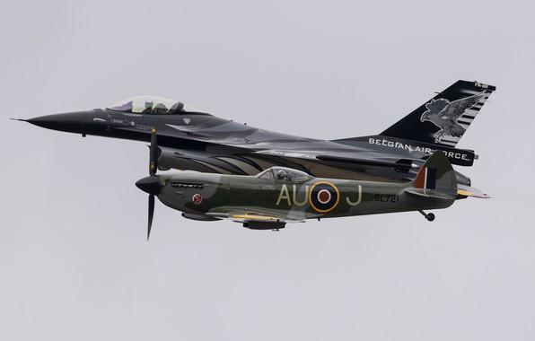 Картинка F-16, Spitfire, Fighter