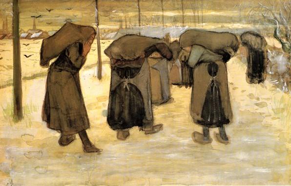 Картинка зима, Vincent van Gogh, Women Miners