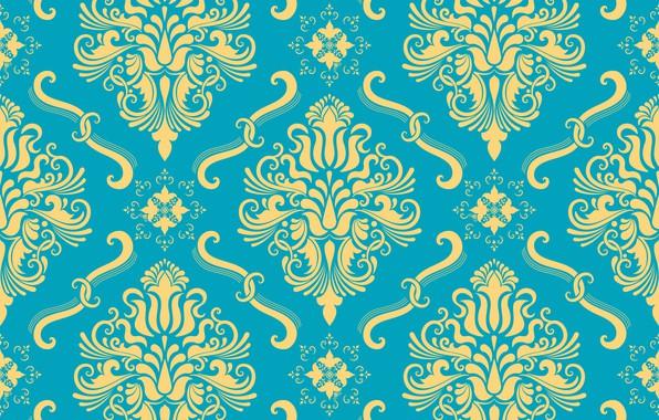Картинка цветы, желтый, фон, голубой, орнамент, style, винтаж, ornament, seamless, victorian
