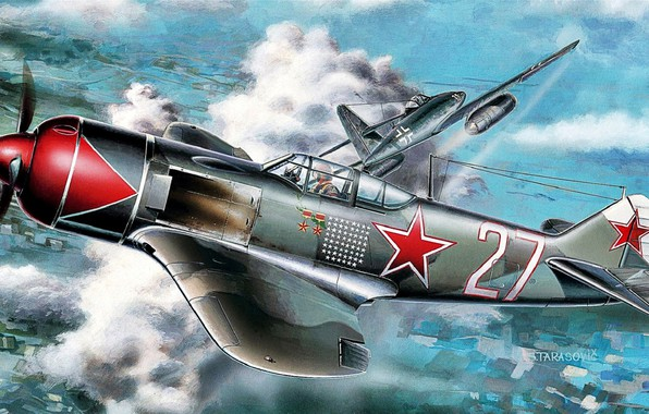 Картинка Ла-7, Вторая Мировая война, Люфтваффе, Me.262A-1a, Турбореактивный, ВВС РККА, И.Н.Кожедуб