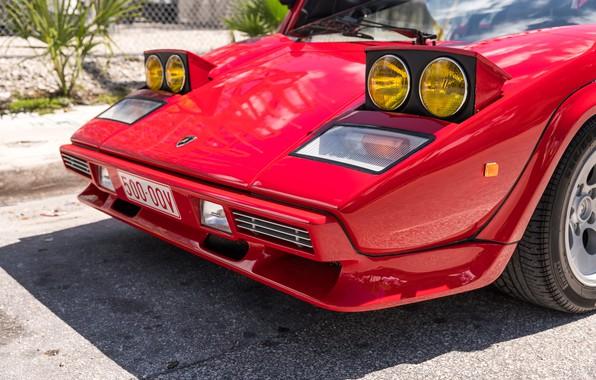 Картинка Красный, Бампер, Капот, Фары, Перед, Lamborghini Countach